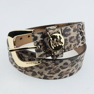 Michael Kors Animal Print Leather Belt Medium